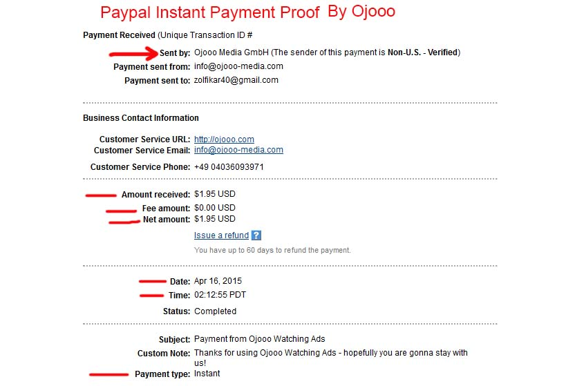 PayPal payment proof
